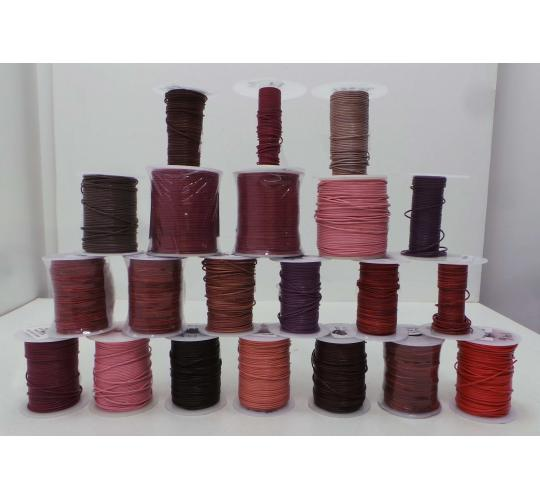 Joblot of 880m of Pink/Purple/Red Round Real Leather Cords 1mm Wide