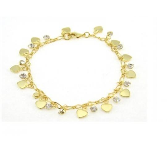 Nickel Free Gold Plated CZ and Heart Bracelets