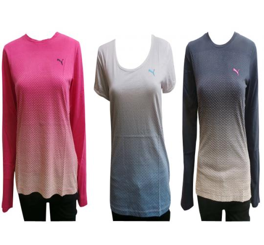 Wholesale Joblot of 10 Ladies Puma T-Shirts 2 Styles Long & Short Sleeve