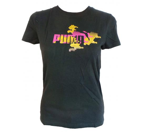 Wholesale Joblot of 10 Ladies Puma Black T-Shirts With Gold/Pink Logo