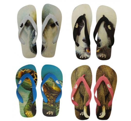 Wholesale Joblot of 100 Beasts Mens & Womens Endangered Animals Flip Flops
