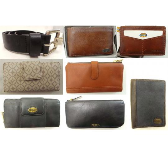 One Off Joblot of 31 Fossil Purses, Wallets, Clutches, Belts & More