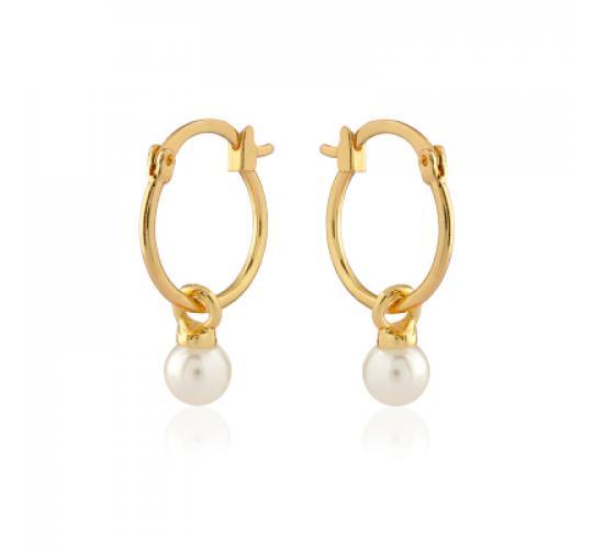 Good plated hoop earrings with pearl