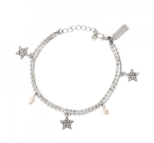 Lovett & Co Diamante Star Bracelet (Rhodium)
