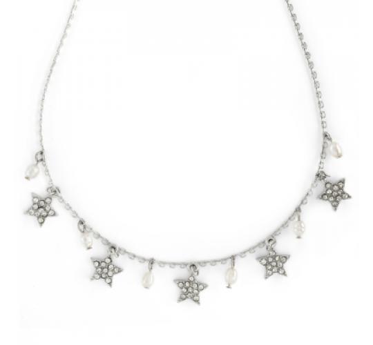 Lovett & Co Diamante Star Necklace (Rhodium)