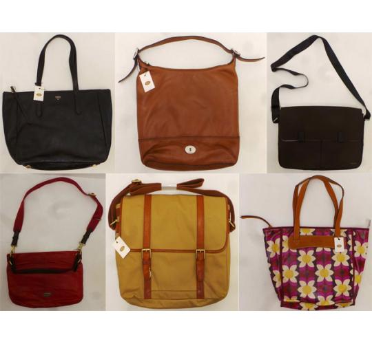 One Off Joblot of 9 Fossil Ladies Handbags - Messengers, Hobos & Shoppers