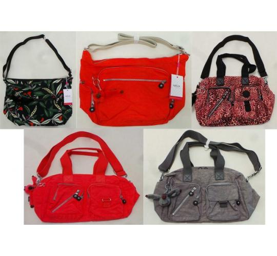 One Off Joblot of 6 Kipling Ladies Shoulder Bags Mix of Styles & Colours