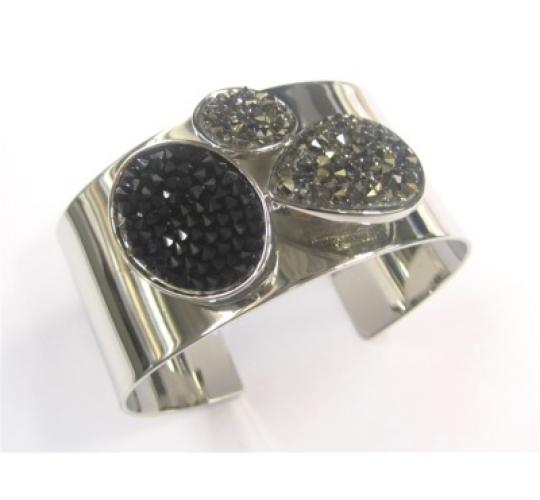 Base Metal Cuff Bangles with Crystals