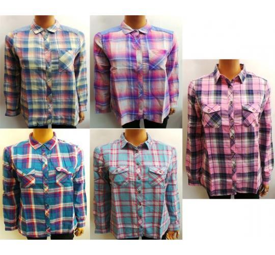 Wholesale Joblot of 10 Ladies Westworld Flannel Check Shirts Various Colours