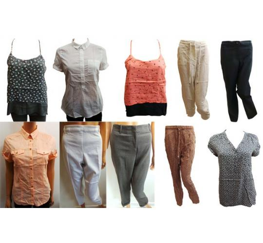 Wholesale Joblot of 50 Plus Size Assorted Womens Tops & Trousers