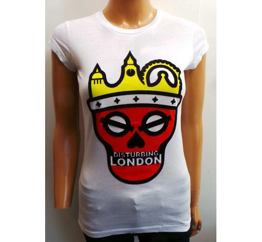 Wholesale Joblot of 20 Disturbing London Ladies White Logo T-Shirts