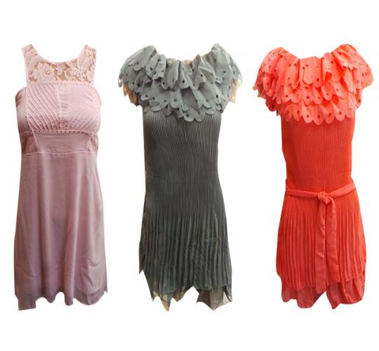 One Off Joblot of 7 Ladies Pleated Dresses 4 Colours & 2 Pink Floral Dresses