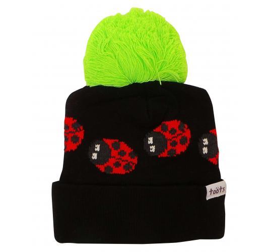 Wholesale Joblot of 10 Toots Black Ladybugs Beanie Hats