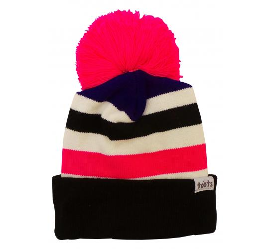 Wholesale Joblot of 10 Ladies Toots Thick Stripes Pink Beanie Bobble Hats