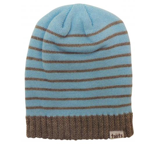 Wholesale Joblot of 10 Toots Unisex Blue Stripes Ribbed Edge Beanie Hats