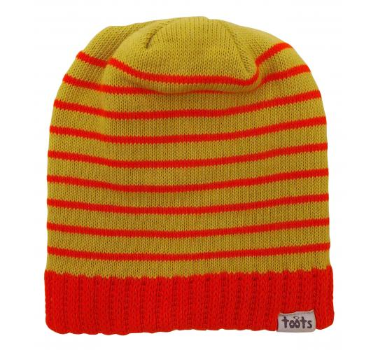 Wholesale Joblot of 10 Toots Unisex Orange Stripes Ribbed Edge Beanie Hats