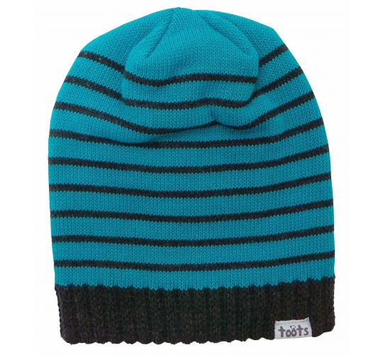 Wholesale Joblot of 10 Toots Unisex Turquoise Stripes Ribbed Edge Beanie Hats