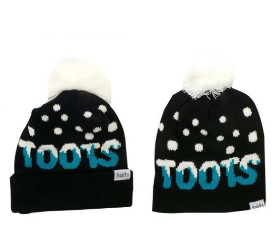 Wholesale Joblot of 10 Toots Ladies Turquoise Logo Pom Beanie Hats Regular/Long
