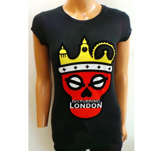 Wholesale Joblot of 20 Disturbing London Ladies Black Logo T-Shirts