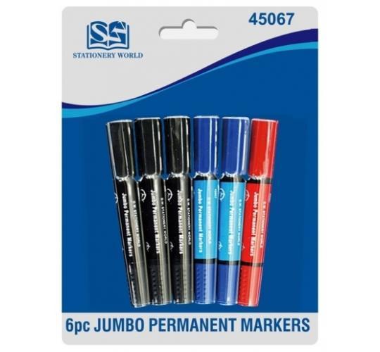 Pack of 6 Jumbo Permanent Marker Pens