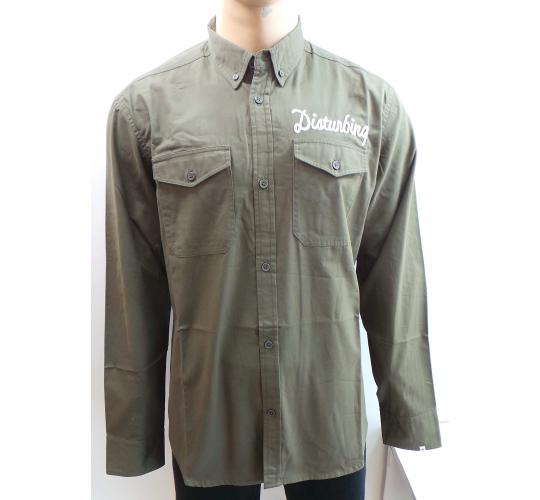 Wholesale Joblot of 10 Disturbing London Mens Olive Chain Shirts S-XL