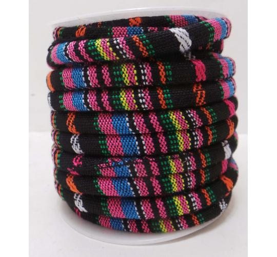 One Off Joblot Of 46 Meters Of Multi Coloured Striped Fabric 6mm Wide