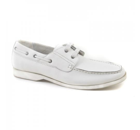 Wholesale Job Lot Gucinari Mens White Leather Casual Boat Shoe