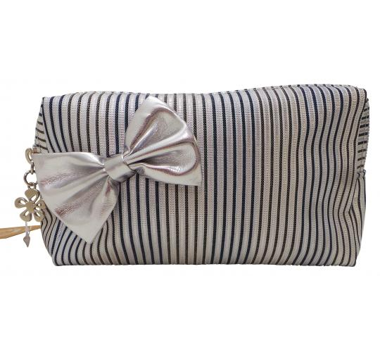 Wholesale Joblot of 25 Madame Posh Ladies Striped Cosmetic Bags With Bow