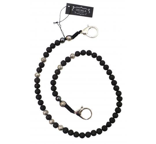 Joblot of 8 Shimla Wallet Chains Silver & Black Crystal 'Fireball' Beads SH818