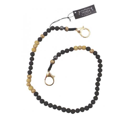 Joblot of 19 Shimla Wallet Chains Black & Gold Crystal 'Fireball' Beads SH819