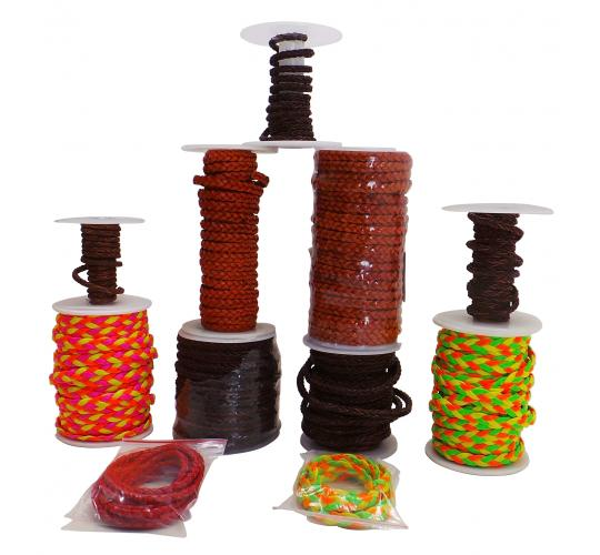 Joblot of Approx 94m of Braided Real Leather Cords Mixture of Colours & Widths