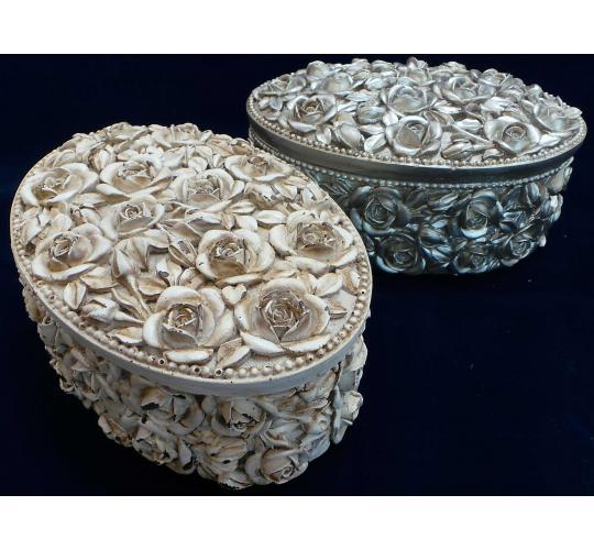 Wholesale Joblot Of 10 Madame Posh Silver/Ivory Rose Belinda Jewellery Boxes