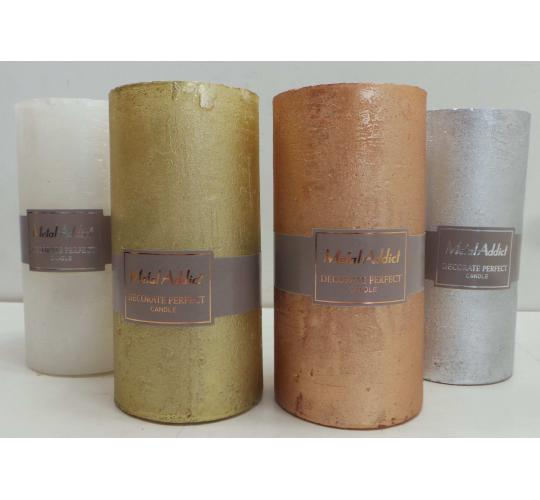 One Off Joblot of 24 Madame Posh Pillar Candles 4 Colours 14cm 41281