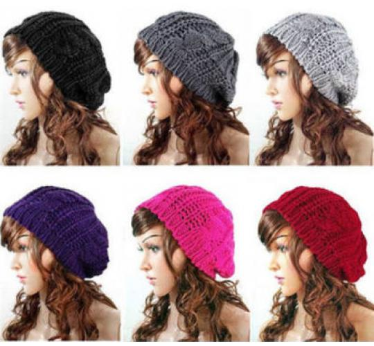 50 x Heavy Knit Slouchy Beanie Hats - 5  Colours