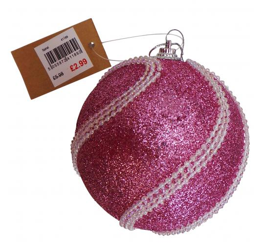 Wholesale Joblot of 67 Madame Posh Spiral Christmas Tree Pink Baubles 41189