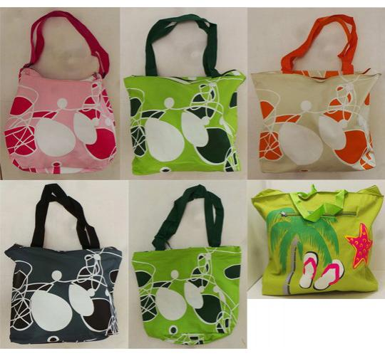 One Off Joblot of 17 Ladies Tote Bags - Mixed Colours & Designs