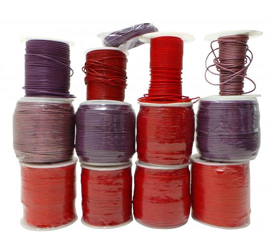 Joblot of 1050m of Red/Purple High Quality Round Leather Cords 1.5mm Wide
