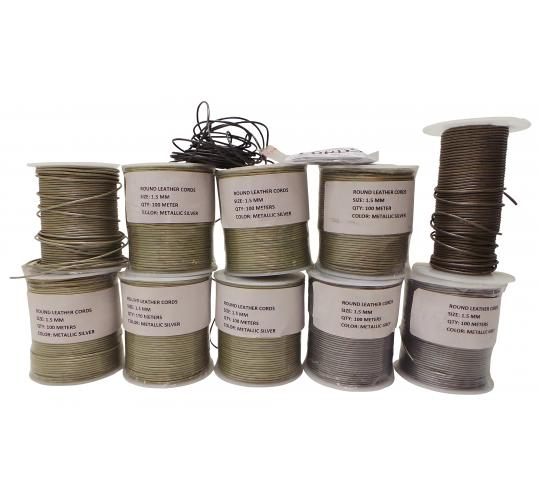 Joblot of 906m of Silver/Grey High Quality Round Leather Cords 1.5mm Wide