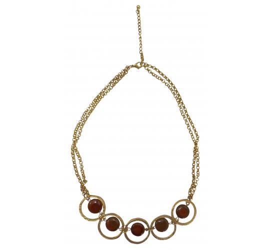 Wholesale Joblot of 20 Designsix Gold/Coral Paddington Necklaces 11122