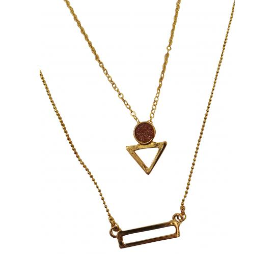 Wholesale Joblot of 20 Designsix Geometric Layered Gold Necklaces