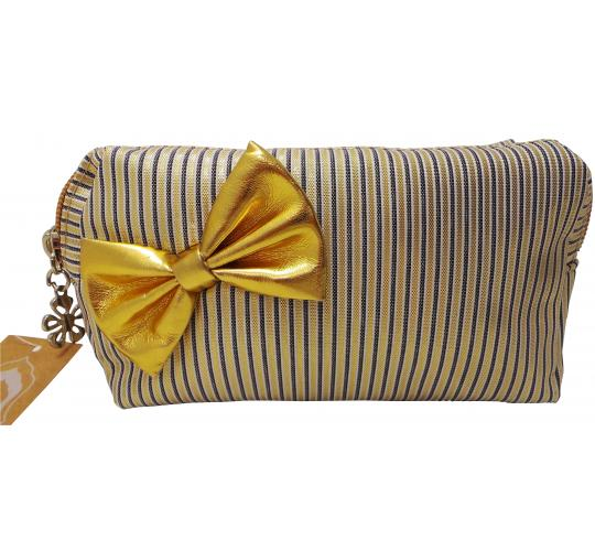 Wholesale Joblot of 40 Madame Posh Ladies Striped Cosmetic Bags With Gold Bow