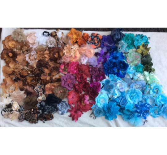 BRAND NEW FLOWER HAIR ACCESSORIES, HAIRBOBBLES, SLIDES & BROOCHES
