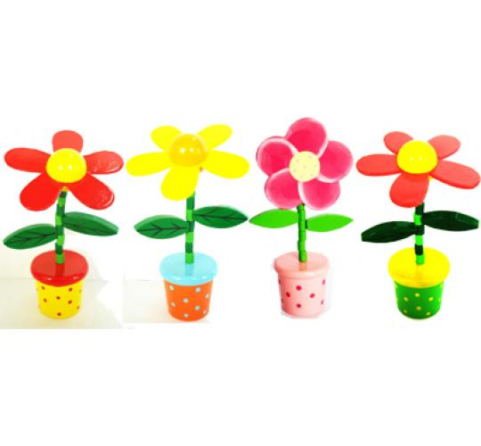 WOODEN FLOWERS TOYS - MIXED COLOURS