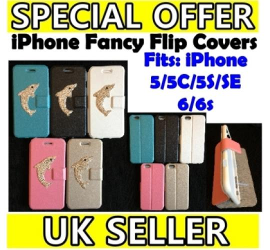 JOB LOT OF 100 Pieces iPhone 5/5S/5C/SE/6/6S Magnetic Flip Case Cover Dolphin Design