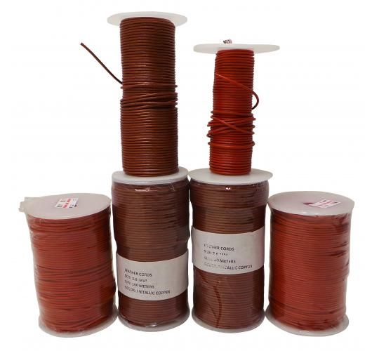 Joblot of 480m of Metallic Copper/Orange Round Leather Cords 2mm Wide