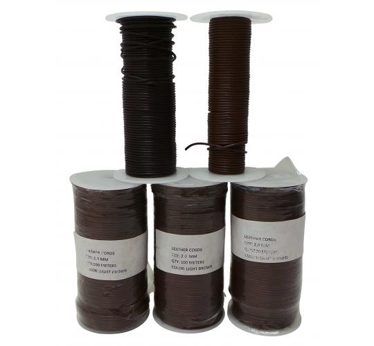 Joblot of 400m of Brown High Quality Round Real Leather Cords 2mm Wide