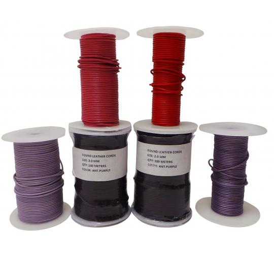 Joblot of 350m of Purple/Pink/Red High Quality Round Leather Cords 2mm Wide