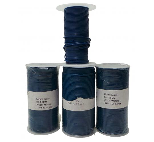 Joblot of 345m of Turquoise & Blue High Quality Round Leather Cords 2mm Wide