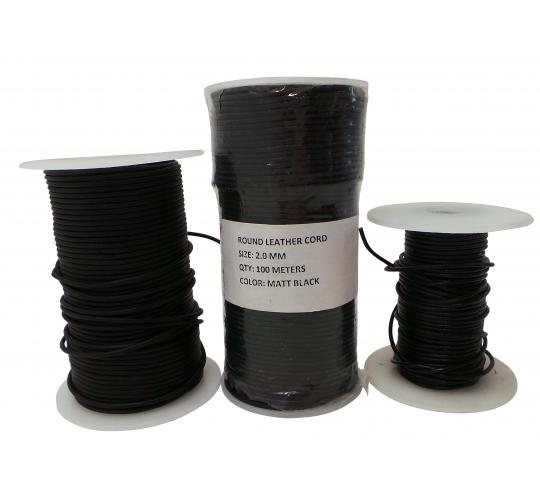 Joblot of 185m of Matt Black High Quality Round Real Leather Cords 2mm Wide