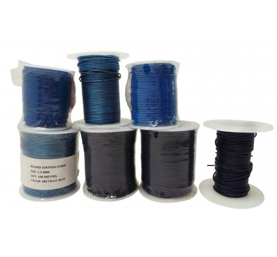 Joblot of 480m of Metallic Blue & Blue Round Real Leather Cords 1.5mm Wide